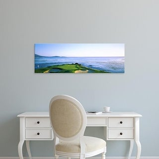 Easy Art Prints Panoramic Image 'Sand traps in golf course, Pebble Beach Golf Course, Monterey, California' Canvas Art