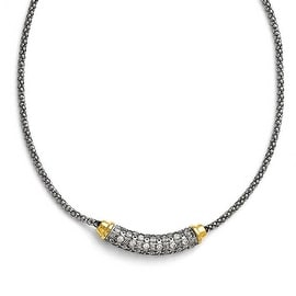 Chisel Stainless Steel Polished Yellow PVD-plated CZ with 2in ext. Necklace - 16 in