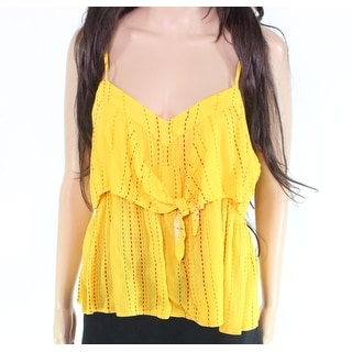 Taylor and Sage Women's Top Bright Yellow Size Small S Tank Tie Front