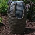 Sunnydaze Bubbling Pot Solar On Demand Outdoor Fountain with LED Light - Thumbnail 1