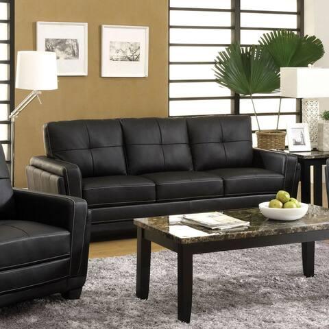 Furniture of America Noka Contemporary Black Faux Leather Tufted Sofa
