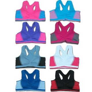 Women 6 Pack Seamless Contrast Color Matching Sports Bras
