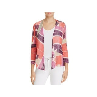 Nic + Zoe Womens Cardigan Sweater Printed Open Front