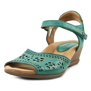 Earth Ibis Women  Open Toe Leather Blue Wedge Heel