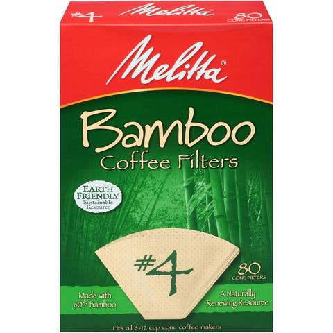 Melitta #4 Cone Bamboo Paper Filters, 80 Count, 2 Pack