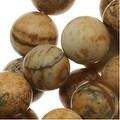 Desert Jasper 8mm Round Beads Beige Brown/15.5 Inch Strand - Thumbnail 0