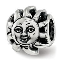 Sterling Silver Reflections Sun with A Face Bead (4.5mm Diameter Hole)