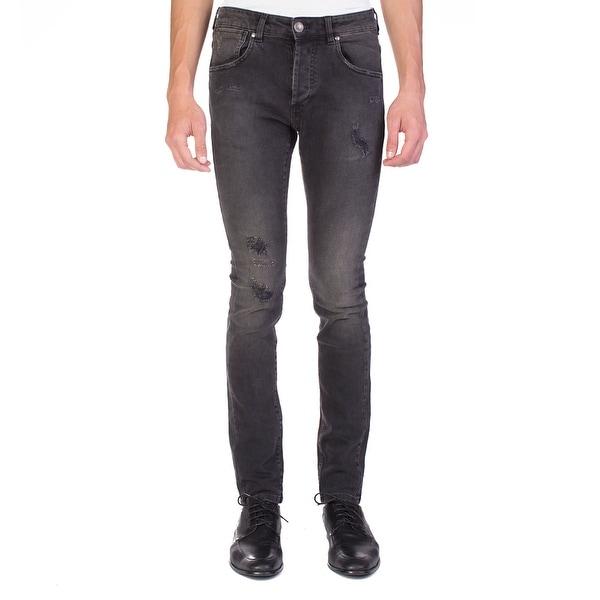 8a77fdf3 Shop Pierre Balmain Men's Distressed Denim Jeans Pants Black - Ships ...