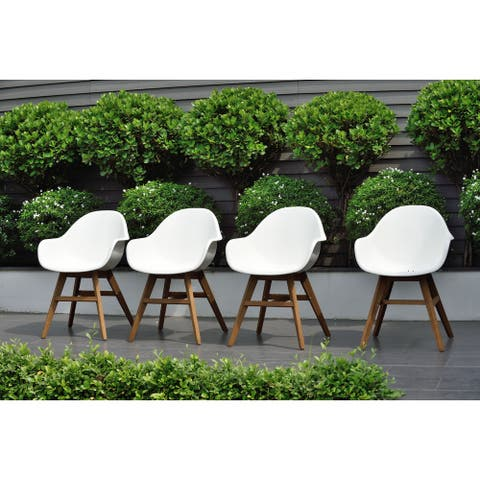 Amazonia Deluxe Hawaii 4 Piece Patio Dining Chairs, Light