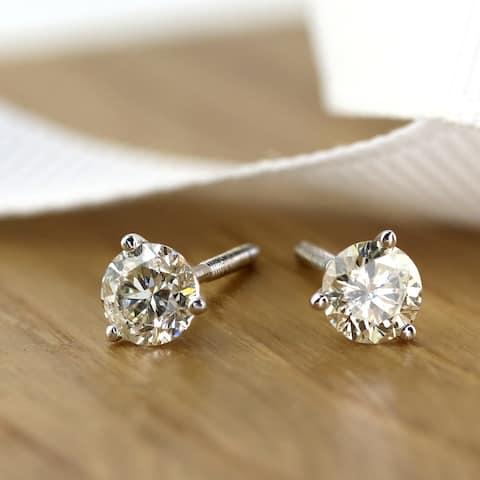 Auriya 0.60ctw Round Diamond Stud Earrings 14k Gold Martini-set