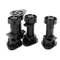Kitchen Bedroom Plastic Adjustable Cabinet Legs Foot Black 4pcs