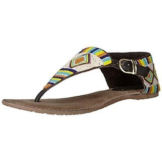 Coconuts by Matisse Womens Gulf Leather Beaded Thong Sandals - 8 medium (b,m)