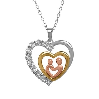 Mother & Child Pendant with Diamonds in 14K Yellow & Rose Gold-Plated Sterling Silver
