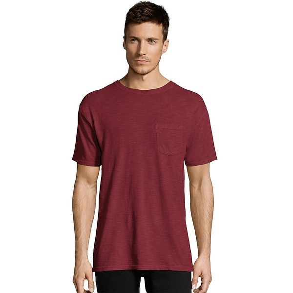 d876923d Shop Hanes Men's 1901 Heritage Dyed Tall Short Sleeve Crewneck Pocket Tee -  Color - Wine Punch - Size - XTRA TALL - Free Shipping On Orders Over $45 ...