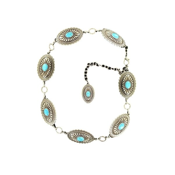 Ariat Western Belt Womens Chain Conchos Silver Turquoise