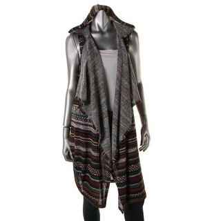 Almost Famous Womens Juniors Printed Hooded Casual Vest