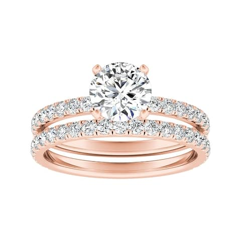 Ethical Sparkle 2 1/4ctw Lab Grown Diamond Engagement Ring Set 14k Gold