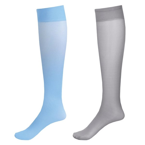 Mild Support 2 Pair Knee High Trouser Socks with 8-15 mmHg Compression - Sky Blue/Grey - Medium