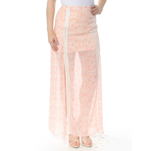 GUESS Womens Pink Printed Crochet Trim Maxi Skirt Size: 8