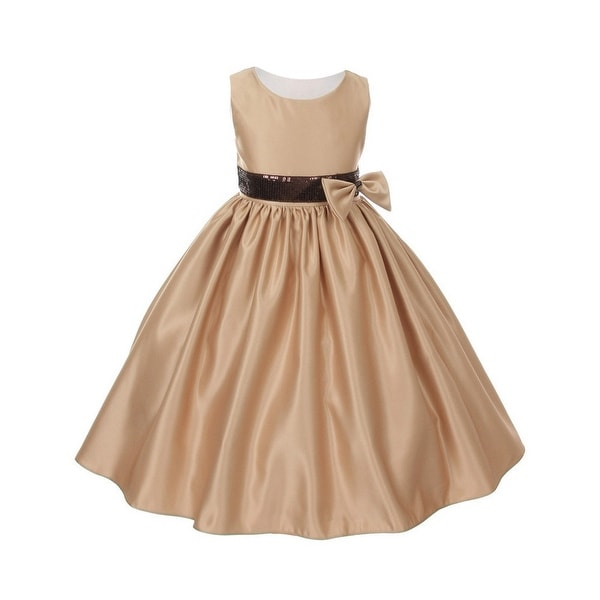 Shop Girls Mocha Satin Sequin Waist Flower Girl Special Occasion