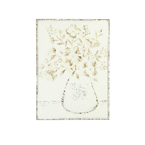 """24""""H Embossed Flowers in Vase Distressed Metal Wall Decor - Distressed White"""