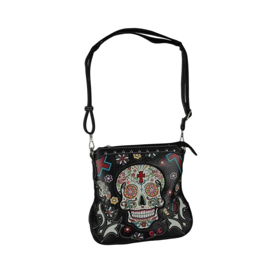 Sugar Skulls Flowers And Crosses Colorful Concealed Carry Crossbody Purse 9 5 X 10 3 Inches