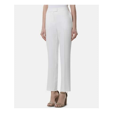 TAHARI Womens Ivory Straight leg Wear to Work Pants Size 2