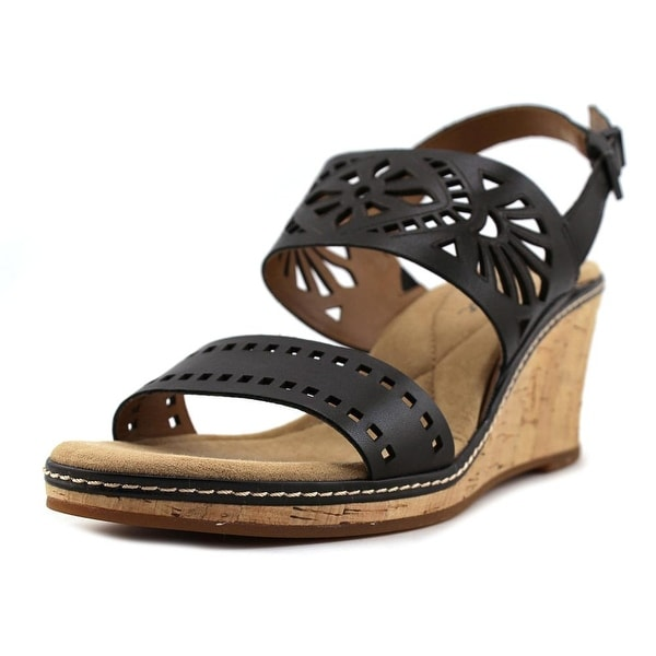 Easy Spirit Kristina Women Open Toe Leather Black Wedge Sandal