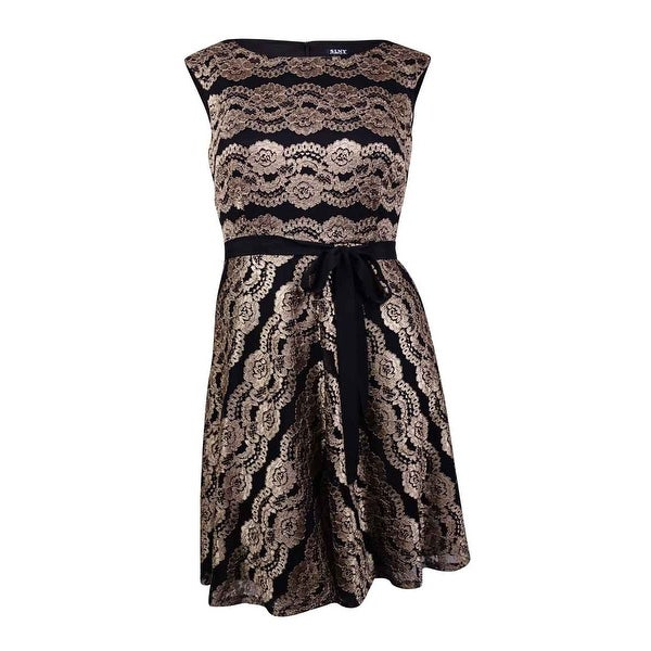 76fd8b770617 Shop SLNY Fashion Women s Plus-Size Belted Floral Lace Dress - Black gold -  20W - Free Shipping Today - Overstock - 19664308