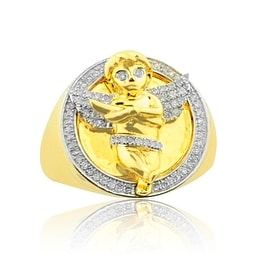 10K Gold Angel Ring Mens Large Pinky Ring 1/3cttw Diamonds By MidwestJewellery - White