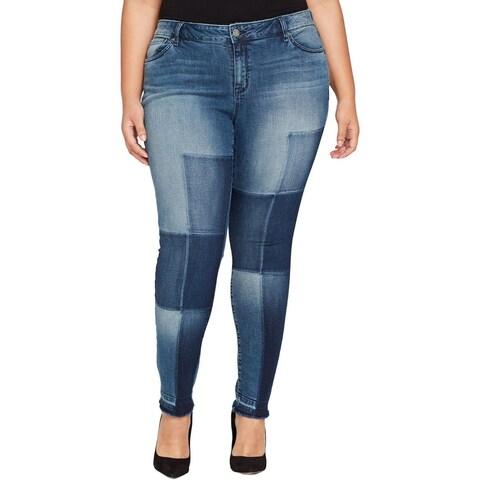 William Rast Womens Plus Skinny Jeans Denim Destroyed
