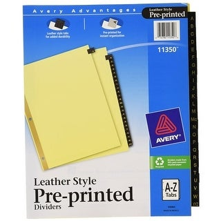 Avery 11350 Black Leather A-Z Index Tab Dividers Tab Dividrs A-z