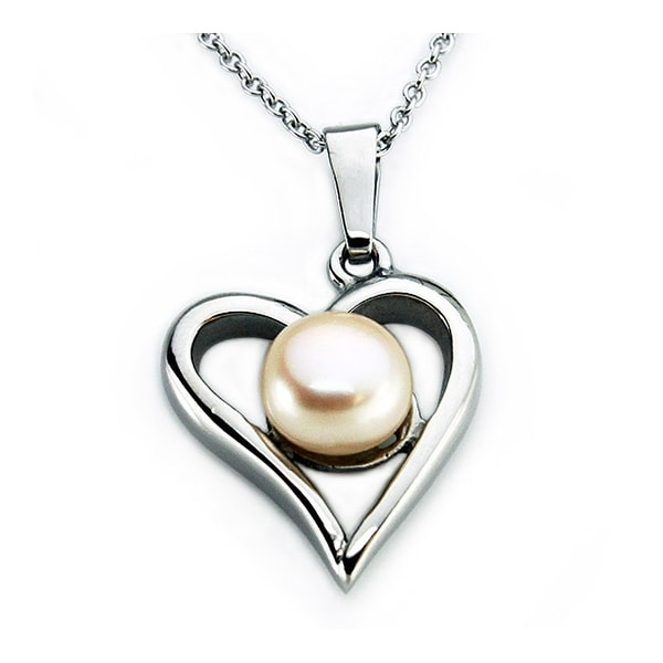 Stainless Steel Heart Pearl Pendant - 18 inches