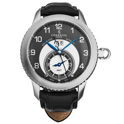 Charriol Men's CO46GMTS.361.002 'Columbus' Anthracite Dial Black Leather Strap GMT Swiss Automatic Watch