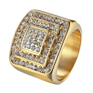 14k Gold Tone Iced Out Hip Hop Wedding Engagement Stainless Steel Ring Bling Men