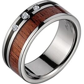 Titanium 3 Diamond Wedding Band With Koa Wood Inlay 8mm