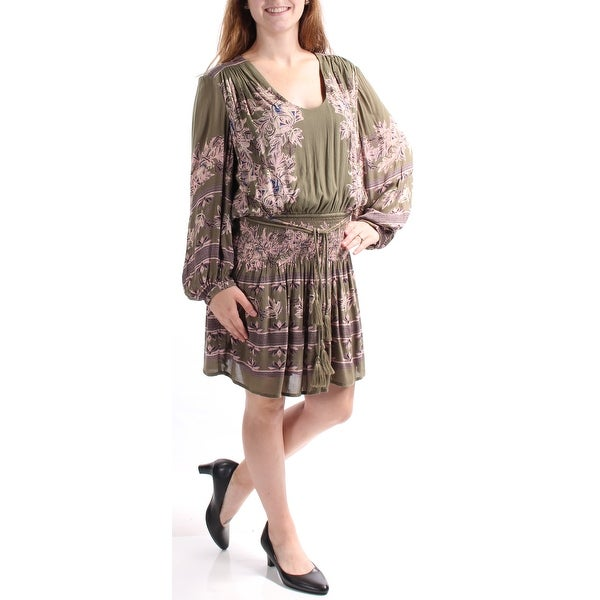 0c149f470746 Shop FREE PEOPLE Womens Green Floral Long Sleeve Scoop Neck Above The Knee  Blouson Dress Size  M - Free Shipping On Orders Over  45 - Overstock -  24060148