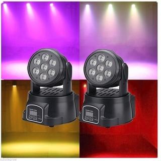 2x RGBW DMX LED Moving Head Spot Light 14CH Stage Lighting DJ Club Disco Party - Black