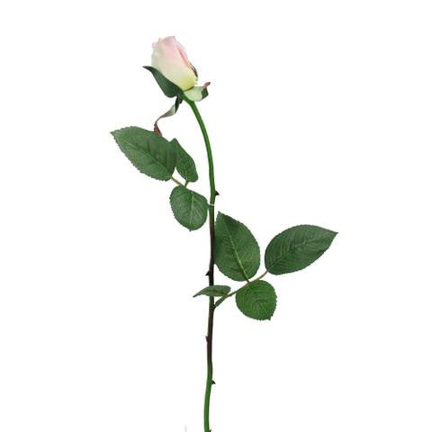 "23"" Pink and Green Artificial Long Single Stem with Budding Rose Pick"