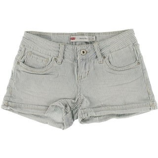 Levis Womens Juniors Shorty Denim Shorts Embroidered Flat Front - 0