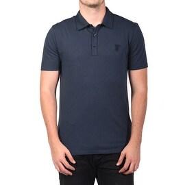 Versace Collection Men's Soft Cotton Polo Shirt Navy