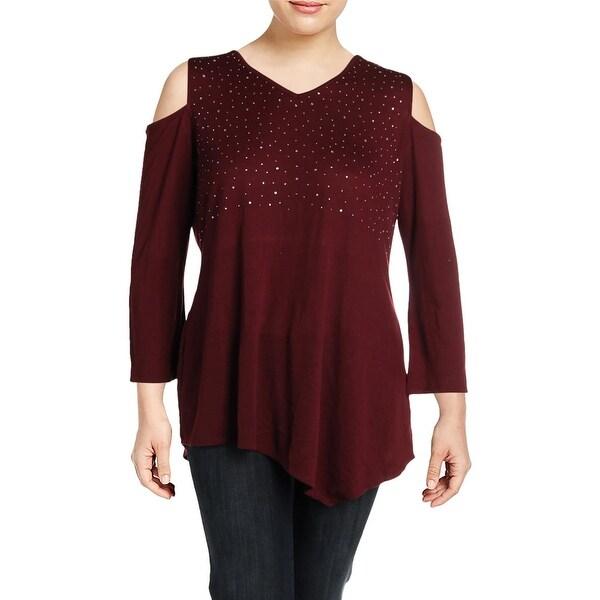 3d0de9226a2330 Shop Belldini Womens Plus Casual Top Cold-Shoulder Jeweled - 1x ...