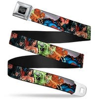 Justice League Of America Reverse Brushed Black Silver Justice League New Seatbelt Belt