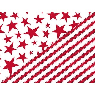 "Pack Of 1, Holiday Stars & Stripes 24"" X 417' Reversible Christmas Premium Gift Wrap Papers For 175 -200 Gifts Made In Usa"