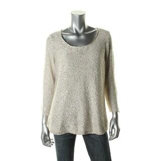 Sioni Womens Metallic Knit Sweater