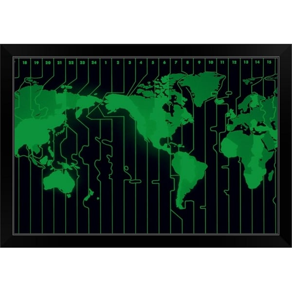 """World map displaying time zones"" Black Framed Print"