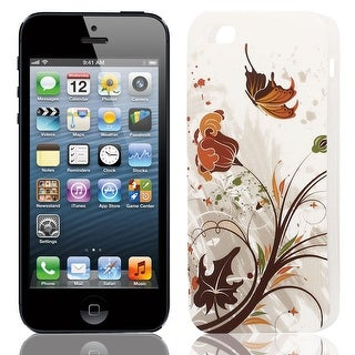 Brown Butterfly Print Soft TPU Skin Protect Case Cover for Apple iPhone 5 5G 5S