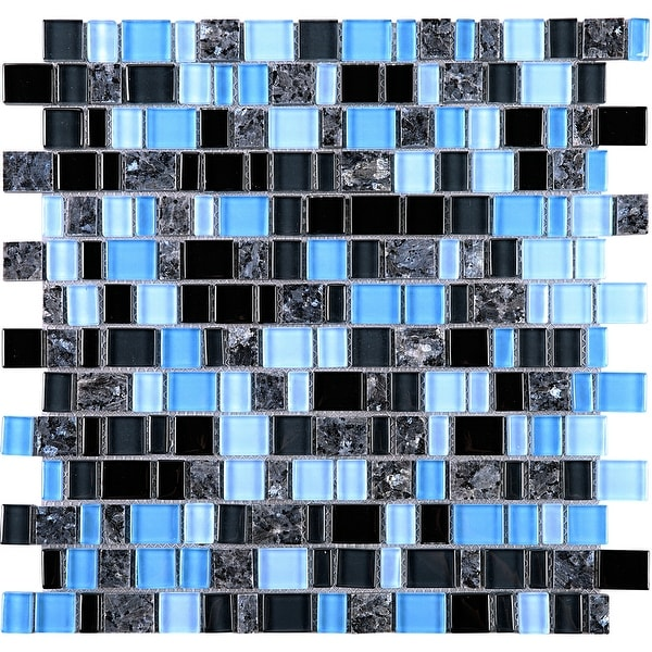 TileGen. Cubemax Random Sized Mixed Material Tile in Black/Blue Wall Tile (10 sheets/9.7sqft.)