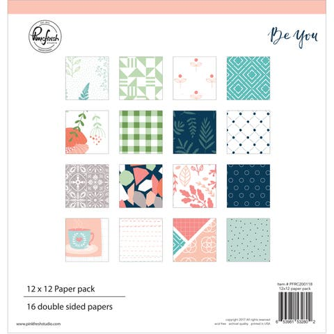 """Pinkfresh Studio Double-Sided Paper Pack 12""""X12"""" 16/Pkg-Be You, 8 Designs/2 Each"""