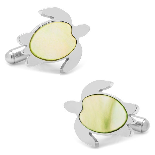 Stainless Steel Green Mother of Pearl Turtle Cufflinks